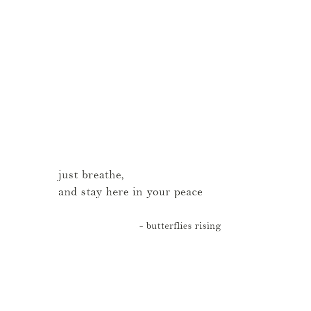 just breathe, and stay here in your peace - butterflies rising