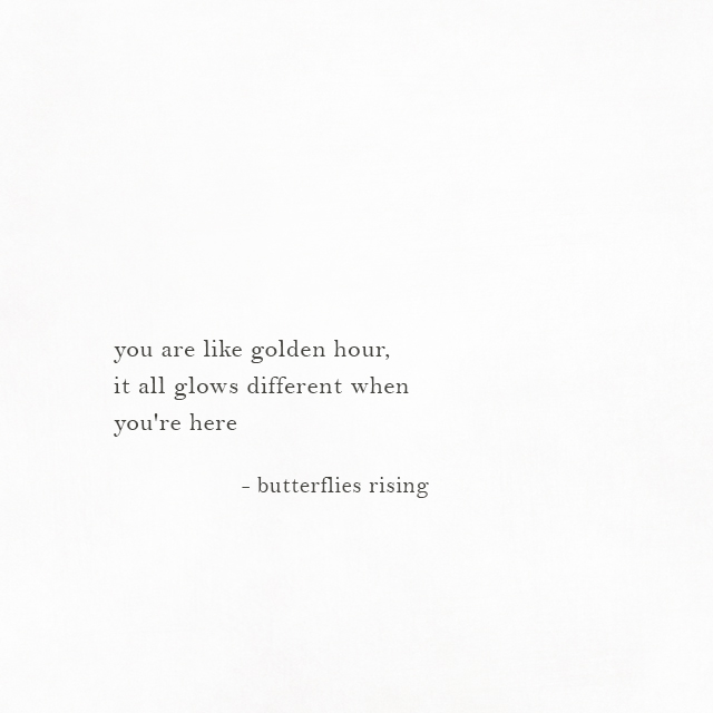 you are like golden hour, it all glows different when you're here - butterflies rising