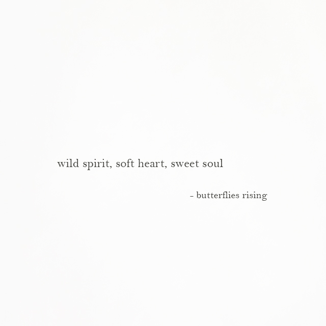 wild spirit, soft heart, sweet soul - butterflies rising