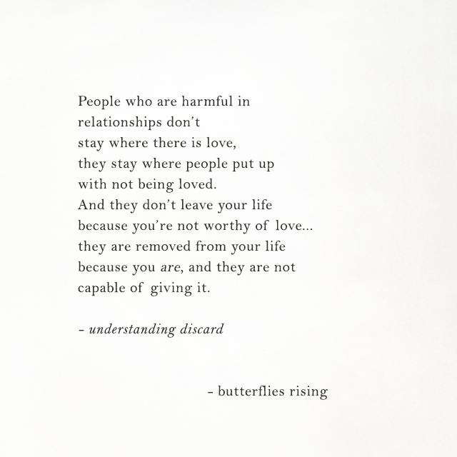 People who are harmful in relationships don't stay where there is love