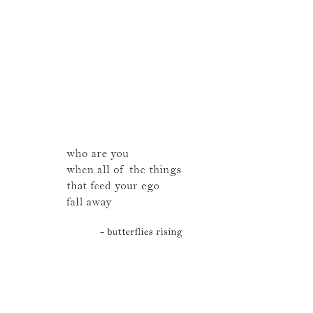 who are you when all of the things that feed your ego fall away - butterflies rising