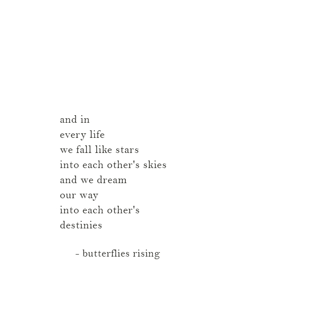 and in every life we fall like stars into each other's skies and we dream our way into each other's destinies - butterflies rising