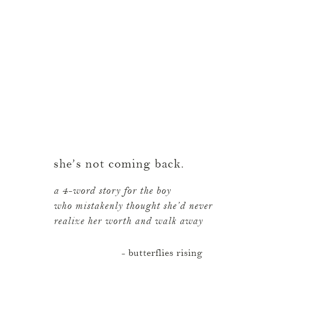 she's not coming back.
