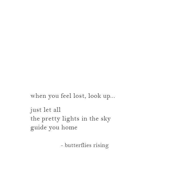 just let all the pretty lights in the sky guide you home - butterflies rising