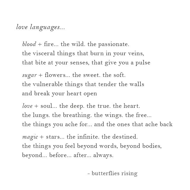 love languages (blood + sugar + love + magic)