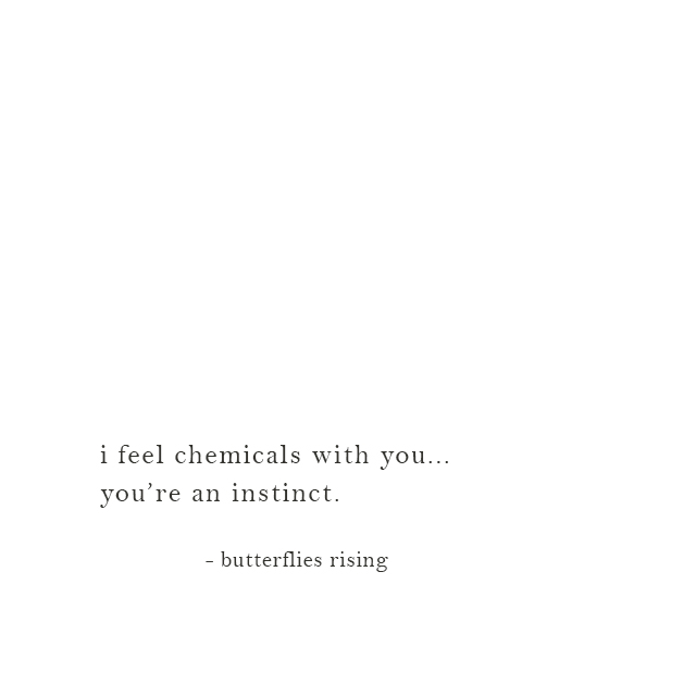 i feel chemicals with you... you're an instinct. - butterflies rising