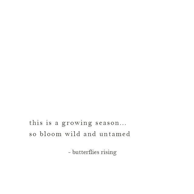 this is a growing season... so bloom wild and untamed - butterflies rising